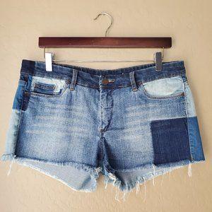 Blank NYC Cut Off Patchwork Denim Shorts